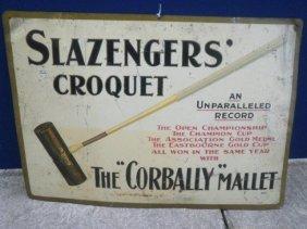 A Slazengers Croquet The 'Corbally' Mallet Tin Sign