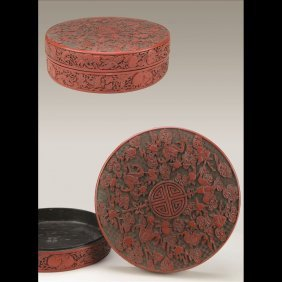 ROUND CARVED CINNABAR BOX AND COVER