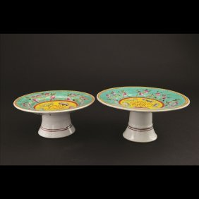 PAIR OF TURQUOISE GROUND FAMILLE ROSE STEM PLATES