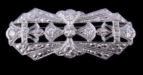 A Diamond Brooch, The Openwork Panel Set With Brilliant