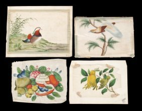 A Quantity Of Chinese Rice Paper Drawings In Gouac