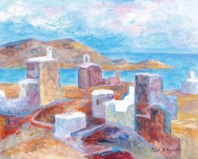 Paul D' Aguilar (b.1927) Ios, Greece Oil On Board