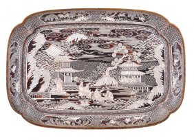 A Chinese Lac Burgaute Style Tray Of Quatre-lobed