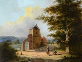 H. De Jong[?] (19th Century) - Landscape With Figures