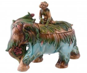 A Continental Majolica Tureen And Cover Modelled As An