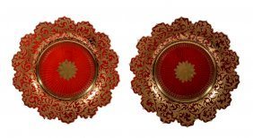A Pair Of Ruby-flashed And Gilt Glass Plates Or Stands,