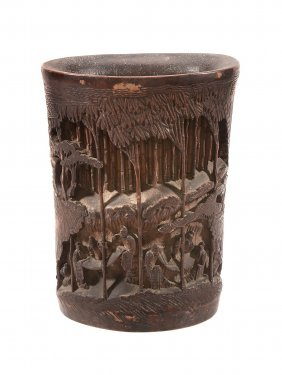 A Chinese Bamboo Brush Pot Depicting The 'seven Sages