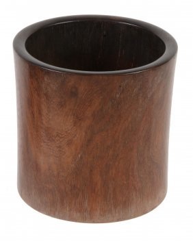A Chinese Hardwood Brush Pot, Bitong, Of Cylindrical