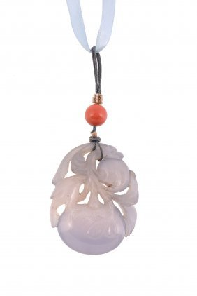 A Chinese Lavender Jade Carved Pendant, Circa 1900-1920