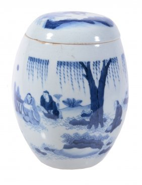 A Chinese Blue And White Vase And Cover, In