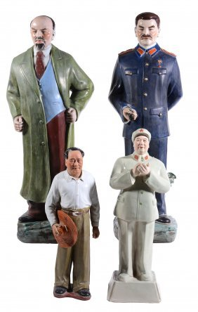 A Large Chinese Porcelain Model Of Lenin, Wearing A