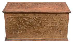 A Burmese Giltwood And Red Lacquer Chest , 19th Century