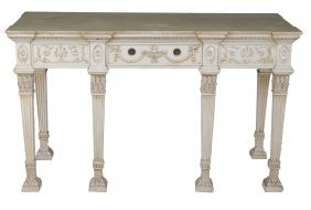An Cream Painted And Silvered Pier Table In George Iii
