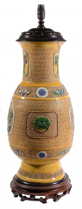 A Large Chinese Yellow-ground Baluster Vase, Late 19th