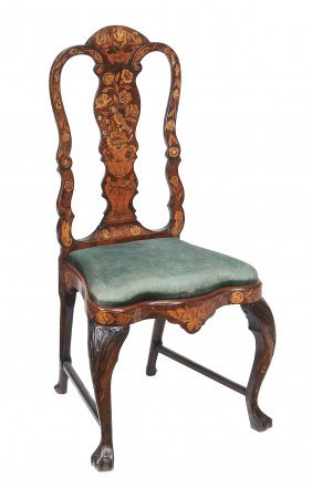A Dutch Walnut And Marquetry Side Chair, Mid 18th