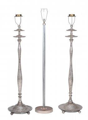 A Pair Of Silvered Wood Art Deco Style Standard Lamps ,