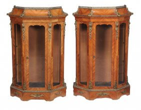 A Pair Of Tulipwood And Gilt Metal Mounted Vitrines,