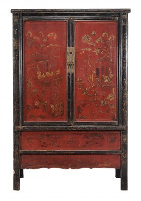 A Chinese Red And Black Lacquer Cupboard, Late 19th/