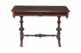 A Victorian Walnut Library Table , Circa 1860, With Two