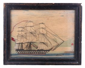 A Victorian Woolwork Picture Of A Sail And Steam