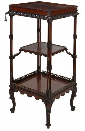 A Mahogany Three-tier Whatnot In George Iii Chippendale