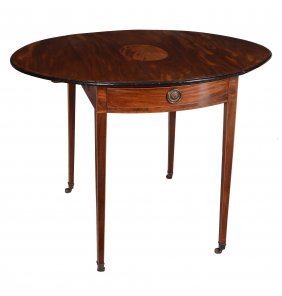 A George Iii Mahogany And Inlaid Pembroke Table , Circa