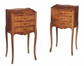 A Pair Of Kingwood, Tulipwood And Marquetry Bedside