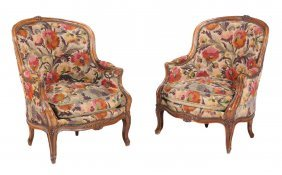 A Pair Of French Walnut And Tapestry Upholstered