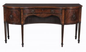 A George Iii Mahogany, Crossbanded And Marquetry Inlaid