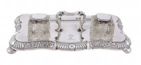 A Late Victorian Silver Shaped Oblong Inkstand By James