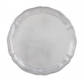 A Silver Shaped Circular Salver By James Dixon & Son,