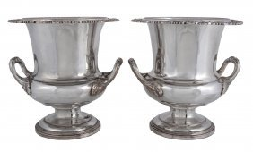A Pair Of Silver On Copper Campana Shape Wine Coolers,