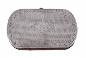 A French Silver Mounted Diced Leather Oblong Purse,
