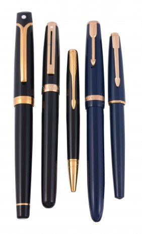 A Collection Of Pens, To Include: Parker, A Blue