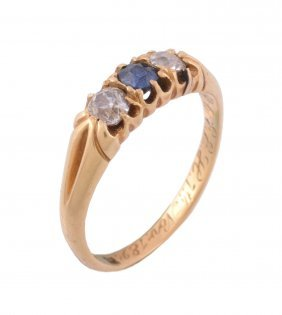 A Late Victorian Sapphire And Diamond Three Stone Ring