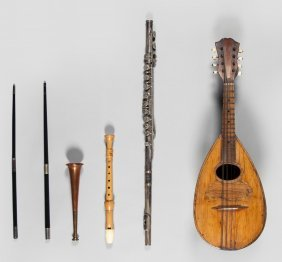A Group Of Musical Items, Two Conductor's Batons,