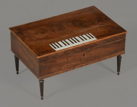 A Mahogany Sewing Box In The Form Of A Square Piano