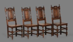 A Set Of Three Provincial Oak Standard Chairs In