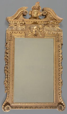 A George Ii Carved And Giltwood Wall Mirror , Circa