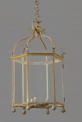 A Gilt Brass Six Glass Hall Lantern , Early 20th