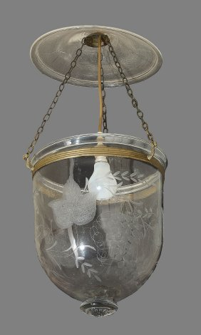 An Etched Glass And Brass Hung 'hundi' Lantern In
