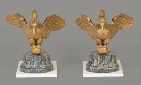 A Pair Of French Carved And Giltwood Models Of Swans