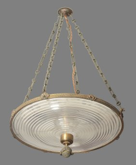 A Moulded Glass And Gilt Metal Mounted Electrolier,