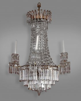 A Gilt Metal And Cut Glass Hung Four Light Chandelier