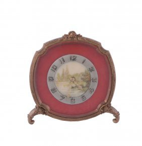 A Gilt Metal Desk Clock, Swiss 8 Day Movement, 15