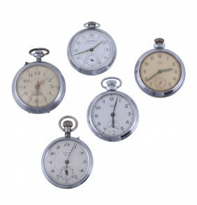 A Collection Of Five White Metal Open Face Pocket