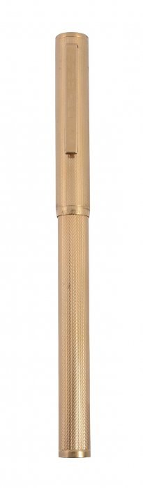 Dunhill, A Gold Plated Fountain Pen, The Cap And Barrel