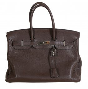 Hermes, A Brown Togo Leather Birkin Bag, Circa 2008,