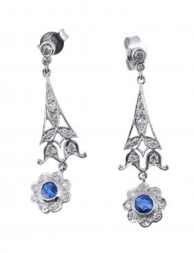 A Pair Of Sapphire And Diamond Ear Pendents