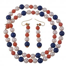 A Single Row Freshwater Cultured Pearl, Coral And Lapis